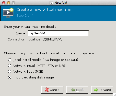 VMM New VM Window